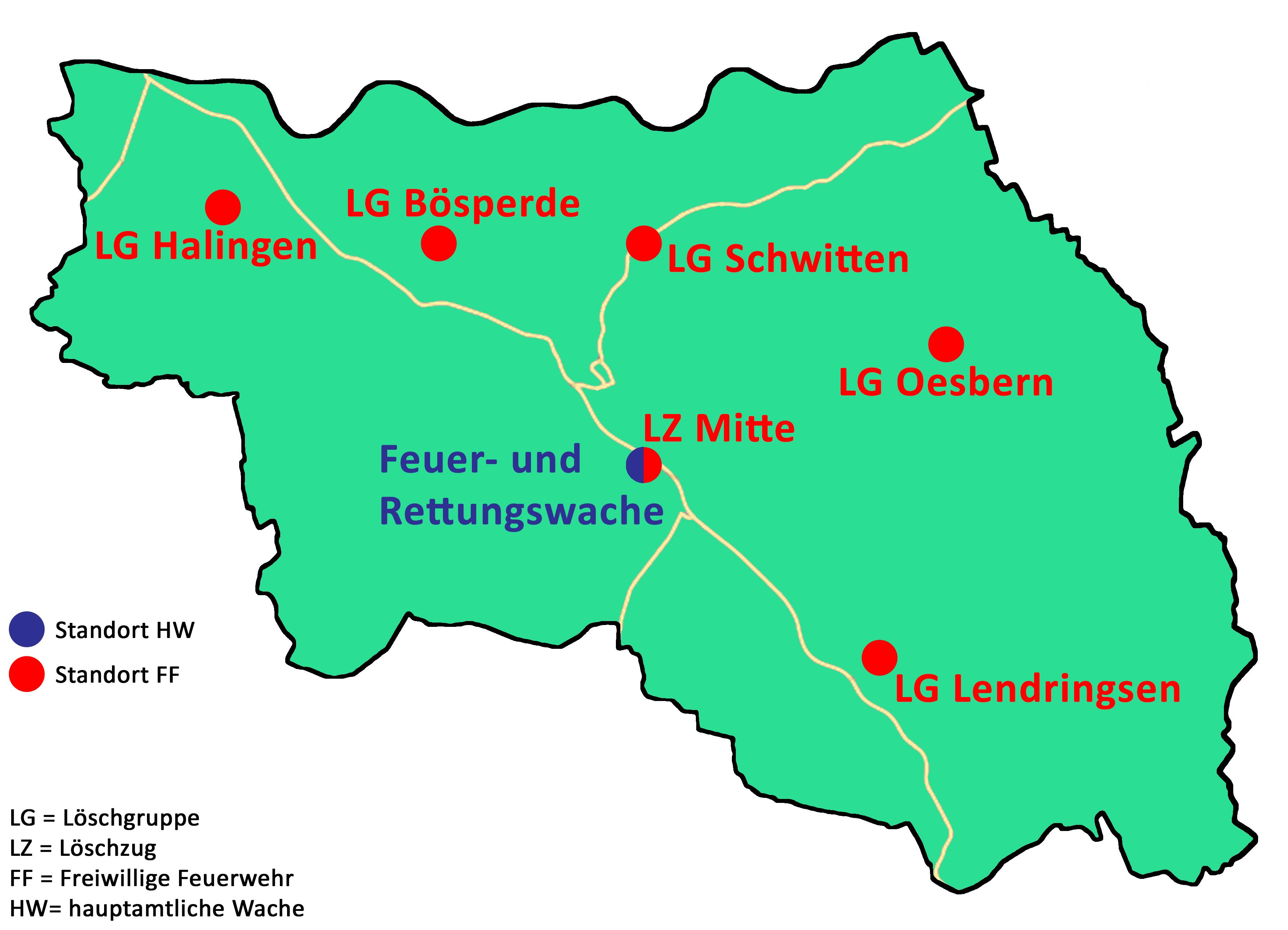 Standorte der Feuerwehr Menden