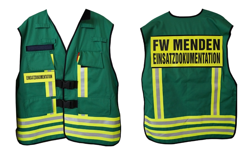Weste der Einsatzdokumentation der Feuerwehr Menden