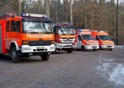 Einige der Fahrzeuge auf dem Parkplatz des Hexenteich